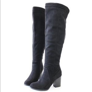 mention black vegan suede over the knee boots
